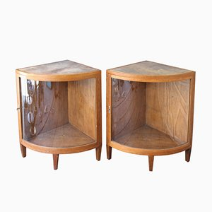 French Corner Cabinets, 1940s, Set of 2