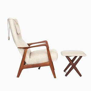 Vintage Adjustable Teak Armchair & Ottoman by Alf Svensson for Fritz Hansen