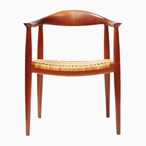 Mid-Century JH-501 Teak & Rattan Chair by Hans Wegner for Johannes Hansen