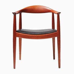 JH-503 Mahogany and Leather Desk Chair by Hans Wegner for Johannes Hansen, 1950s