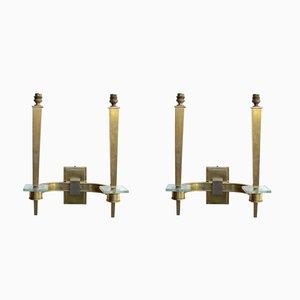 Art Déco Bronze Wandlampen, 2er Set