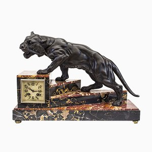 Art Deco Table Clock with Feline