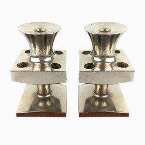 Mid-Century Silver Plated Taper Candleholders by E.J. Design, Set of 2