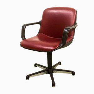 Sedie esecutive in pelle Burgundy in pelle rossa di Comforto, anni '80, set di 8