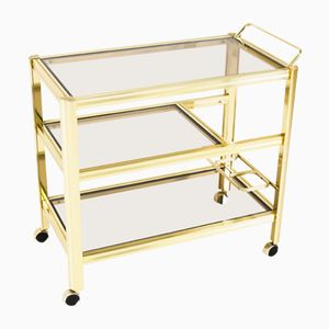 Mid-Century Modern Gilded Metal Cocktail Trolley, 1970s