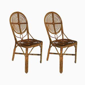 Rattan Beistellstühle, 1950er, 2er Set