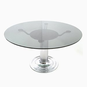 round chromed metal u0026 glass dining table 1970s