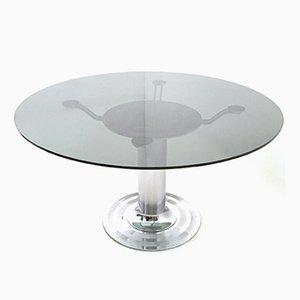 Tavolo da pranzo rotondo in metallo cromato e vetro, anni '70