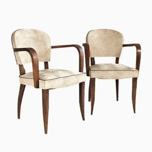 Belgian Vintage White Vinyl Chairs with Sculpted Oak Frames, Set of 2