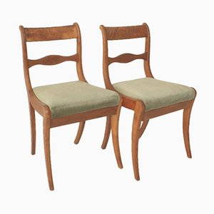 Wooden Chairs with Green Cushions, 1900s, Set of 2