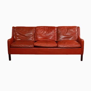 Vintage Scandinavian 3-Seater Red Leather Sofa