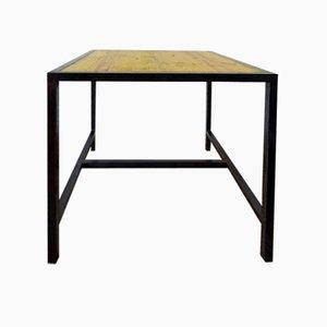 Tavolo da laboratorio vintage in legno e metallo