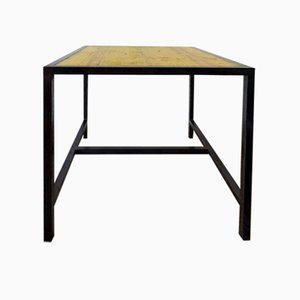 Vintage Metall und Holz Werktisch