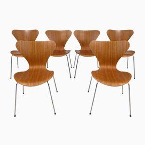3107 Teak Chairs by Arne Jacobsen for Fritz Hansen, 1950s, Set of 6