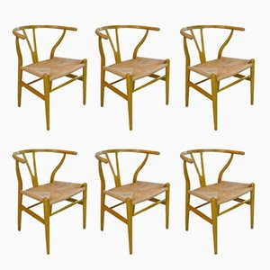 CH 24 Wishbone Chairs by Hans J. Wegner for Carl Hansen & Søn, 1950s, Set of 6
