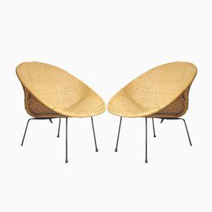 Runde Bambus Korbsessel, 1950er, 2er Set