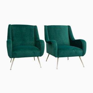 Mid-Century Italian Green Armchairs, Set of 2