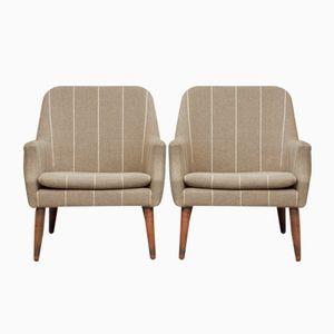 Dänische Gestreifte Sessel mit Wollbezügen, 1950er, 2er Set