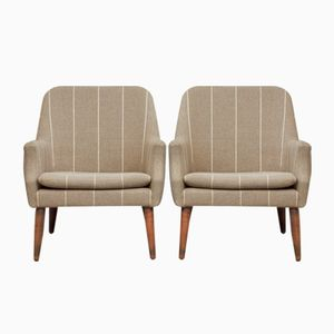 Danish Striped Wool Lounge Chairs, 1950s, Set of 2