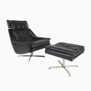 Vintage Danish Leather Lounge Chair and Ottoman by Werner Langenfeld for ESA, 1970s