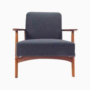 Teak & Oak Dark Blue Wool Lounge Armchair, 1960s