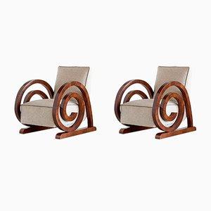 Art Deco Armchairs in Walnut Veneer, 1930s, Set of 2