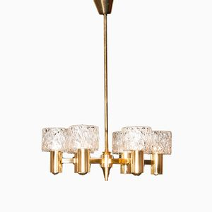 Glass & Brass Chandelier by Carl Fagerlund for Orrefors, 1950s