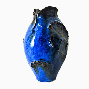 Vaso in ceramica blu di Leif Heiberg Myrdam, anni '70