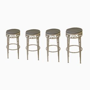 French Wrought Iron Stools, 1970s, Set of 4