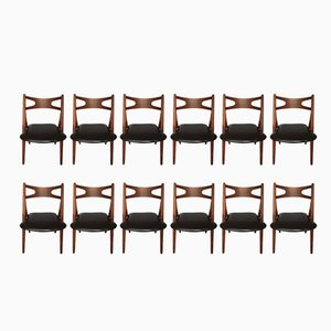 CH-29 Sawbuck Chairs in Teak by Hans Wegner for Carl Hansen & Søn, 1950s, Set of 12