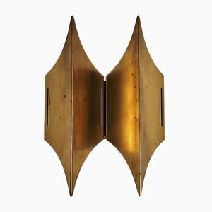 Danish Gothic II Sculptural Wall Lamp in Brass from Lyfa, 1960s