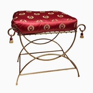 Vintage Regency Gold Metal Footstool