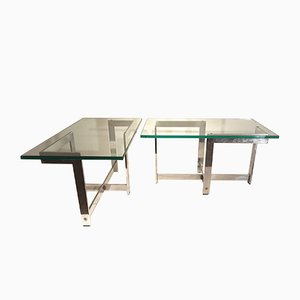 Glass and Chrome Coffee Tables, 1970s, Set of 2