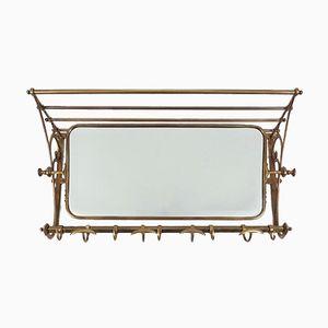 Attaccapanni vintage in ottone con specchio girevole