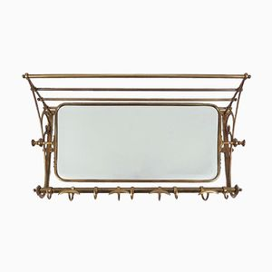 Vintage Brass Coat Rack with Swivel Mirror