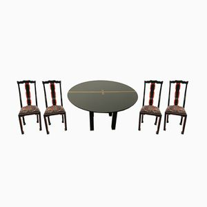 Black Lacquered Dining Set from Jansen, 1970s