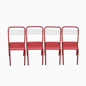 Französische Vintage Bistro Stühle aus Metall, 4er Set