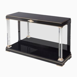 Black Console Table with a Mirrored Back, 1970s