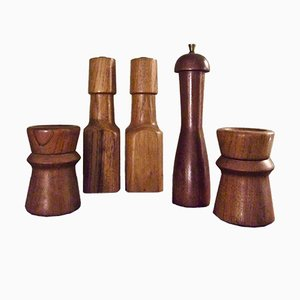 Danish Pepper Mills & Salt Shakers, Set of 5