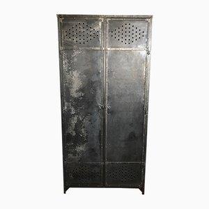 French Grey Metal Wardrobe, 1930s