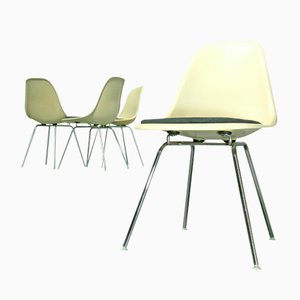 Fiberglass Side Chairs with H-Bases by Charles & Ray Eames for Vitra, 1970s, Set of 4, 1980s