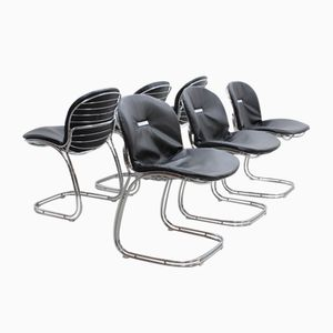 Italian Black Leather Sabrina Dining Chairs by G. Rinaldi for Rima, 1970s, Set of 6