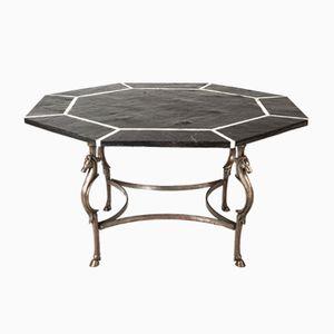 Octagonal Center Table in Black Slate, Marble & Steel, 1970s