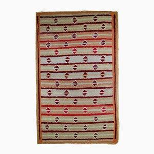 Antique Handmade American Hooked Rug, 1890s