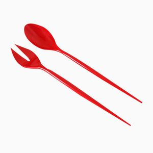 Red Melamine Salad Servers by Herbert Krenchel for Torben Ørskov