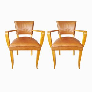 Vintage Tan Leather Desk Chairs, Set of 2