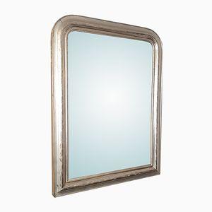 Antiker Französischer Spiegel mit Versilbertem Rahmen