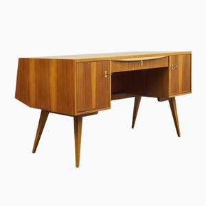 Vintage Walnuss Furnier Schreibtisch von Franz Ehrlich für VEB Deutsche Werkstätten Hellerau