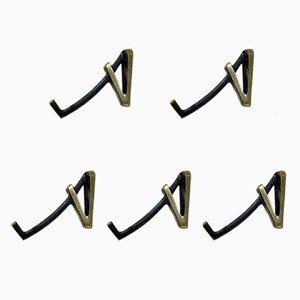 Austrian Brass Coat Hooks by Walter Bosse for Hertha Baller, 1950s, Set of 5