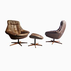 Vintage Leather Swivel Easy Chairs with Ottoman